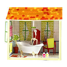 Maqueta 3D de un cuarto de baño de una casa de muñecas. Manualidades a Raudales.
