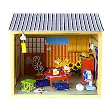 Maqueta 3D de casa de muñecas estilo japonés casa (verano y otoño). Manualidades a Raudales.