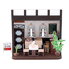 Maqueta 3D de un restaurante para casas de muñecas. Manualidades a Raudales.