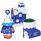 Papercraft imprimible y armable de conjunto de adornos navideños azules. Manualidades a Raudales.